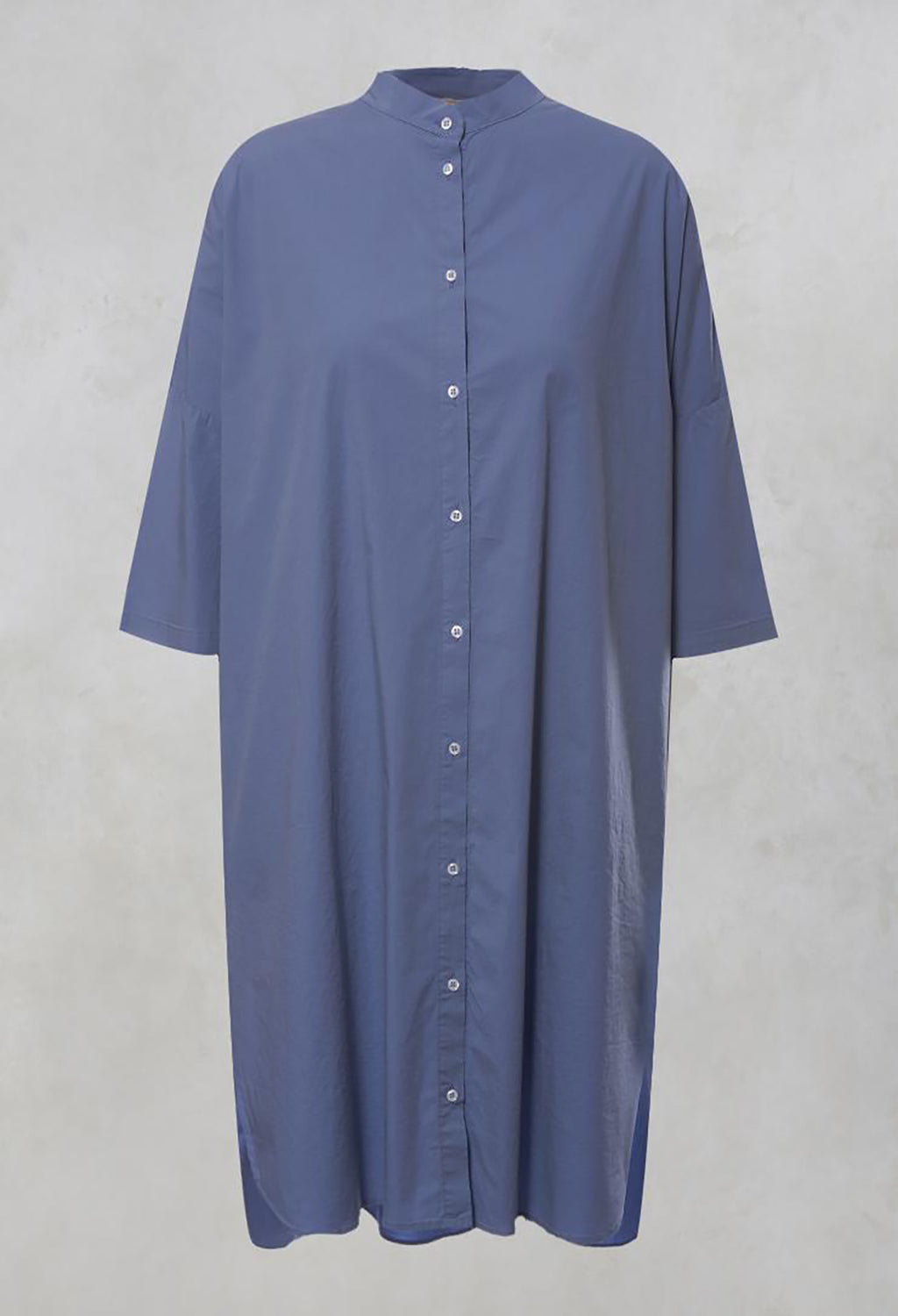 Oversized Shirt Dress with Grandad Collar in Sky
