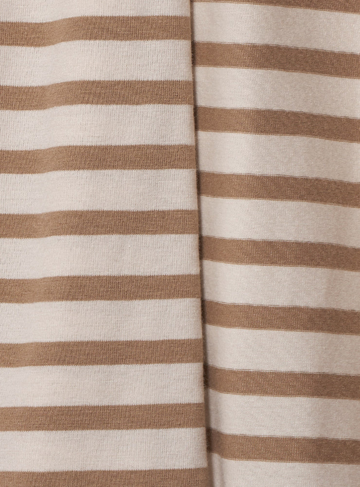Striped Cotton Scarf in Spago / Osso