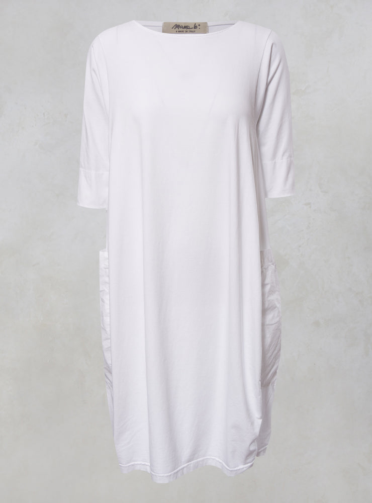 Golfo T Shirt Dress with Large Pockets in Bianco