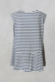 Gobi Striped Sleeveless Loose Fit Top in indaco / Osso