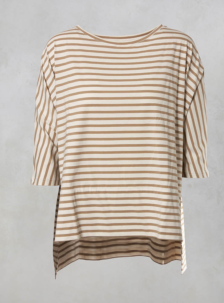 Sidro Oversized Striped Top in Spago / Osso