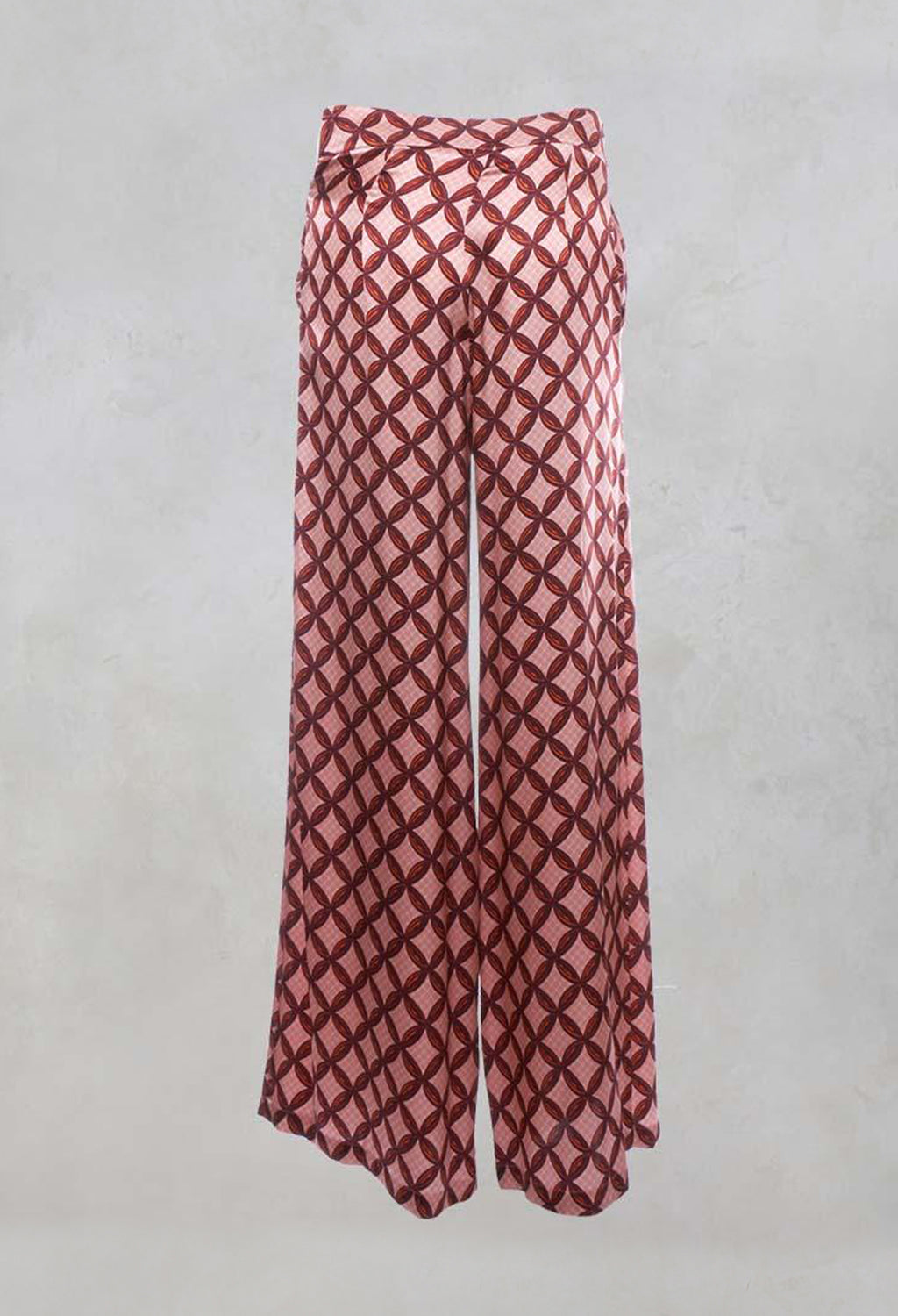 Silk Printed Palazzo Trousers in Papaya