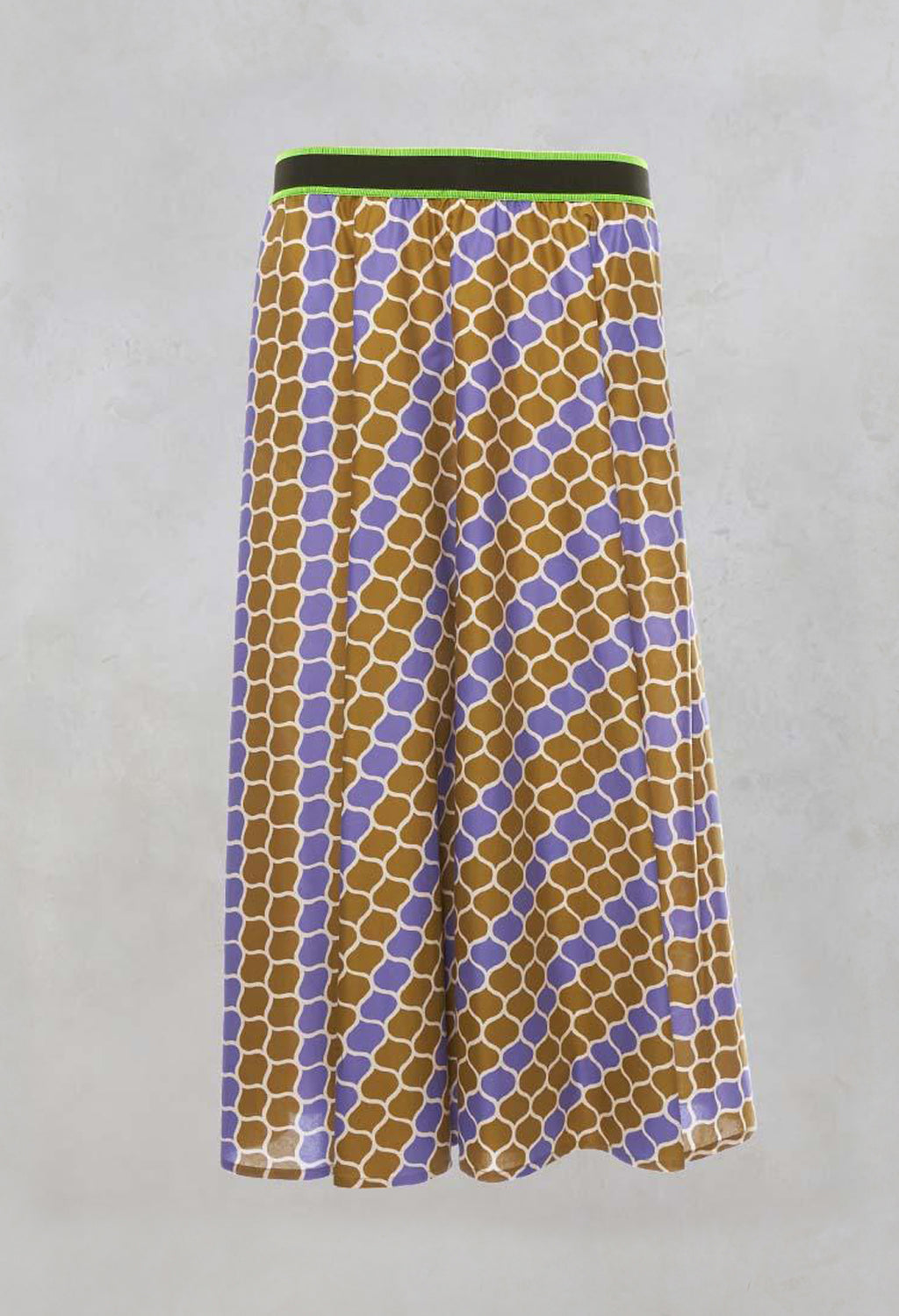 Printed Midi Skirt with Contrast Waistband in Lilla