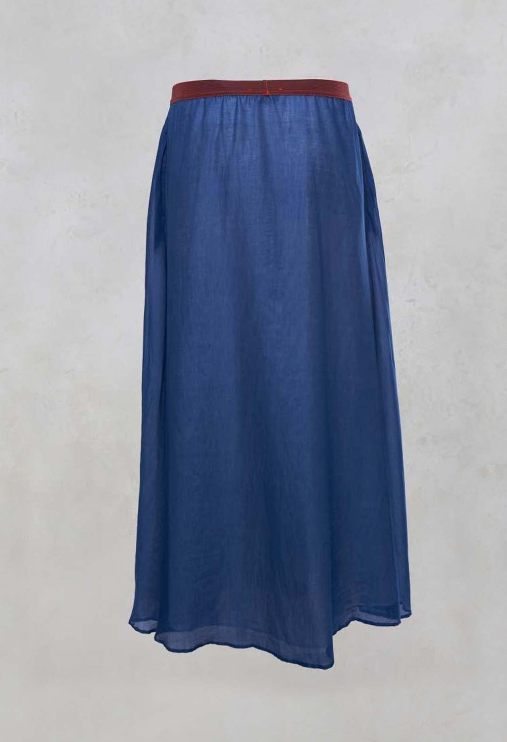 Layered Maxi Skirt with Contrast Waistband in Bluette