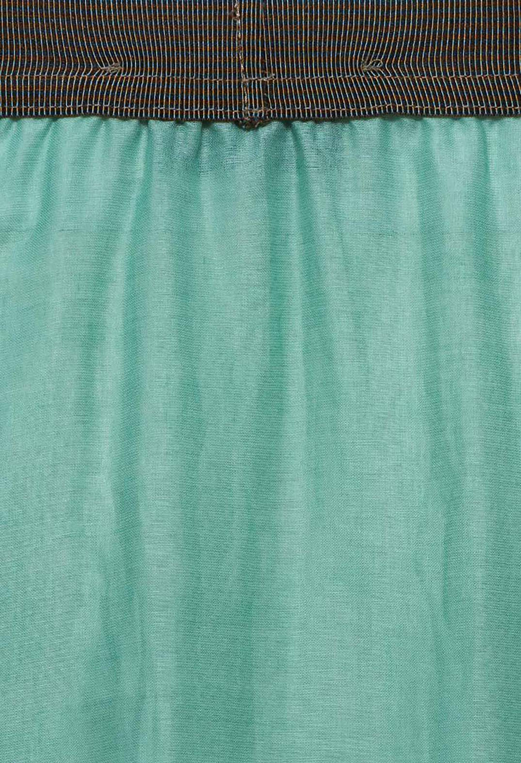 Layered Maxi Skirt with Contrast Waistband in Emerald