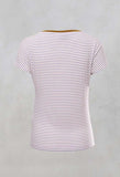 Striped T Shirt with Contrast Neckline in Lilla