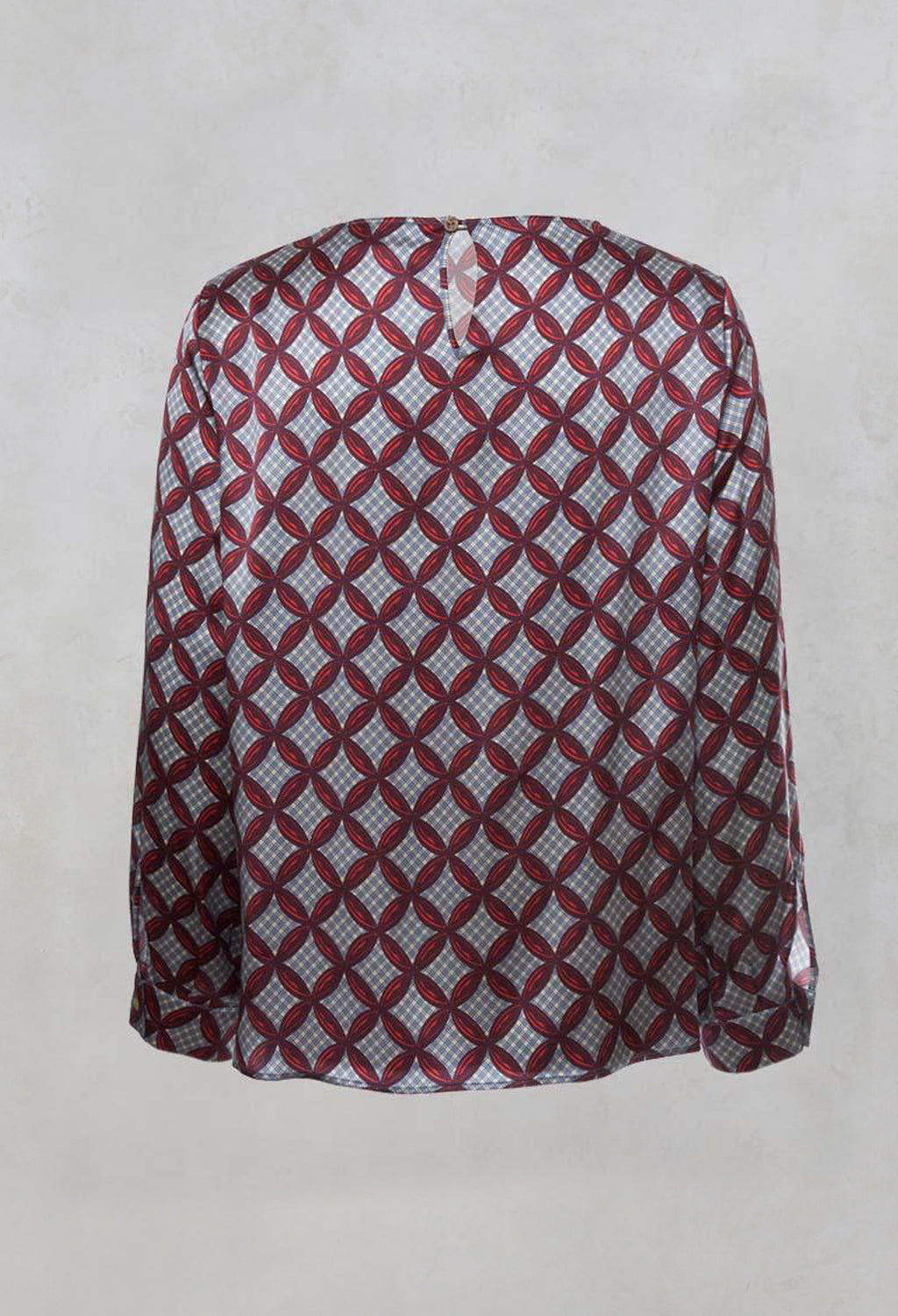 Long Sleeved Patterned Silk Blouse in Hibiscus