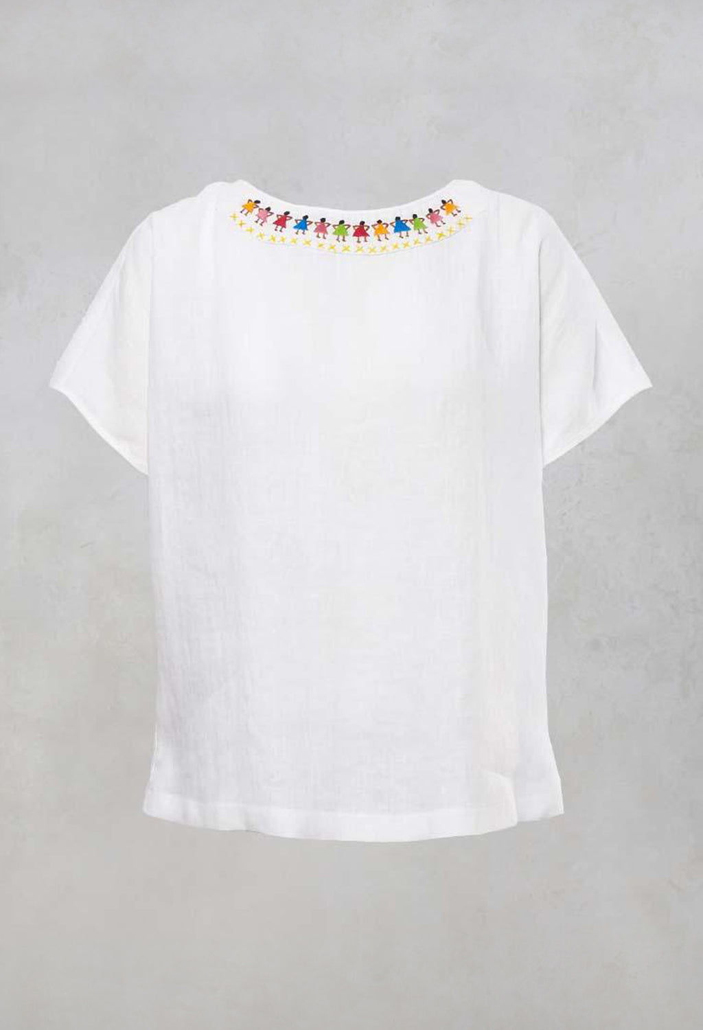 Linen Oversized Top with Embroidered Motif in Chalk