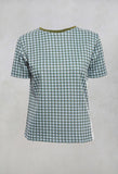 Short Sleeved Checked Boxy Top in Alga