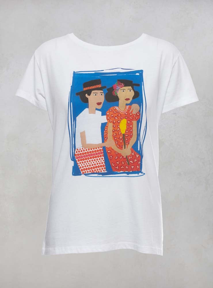 Printed Mexican Sisters T Shirt in White