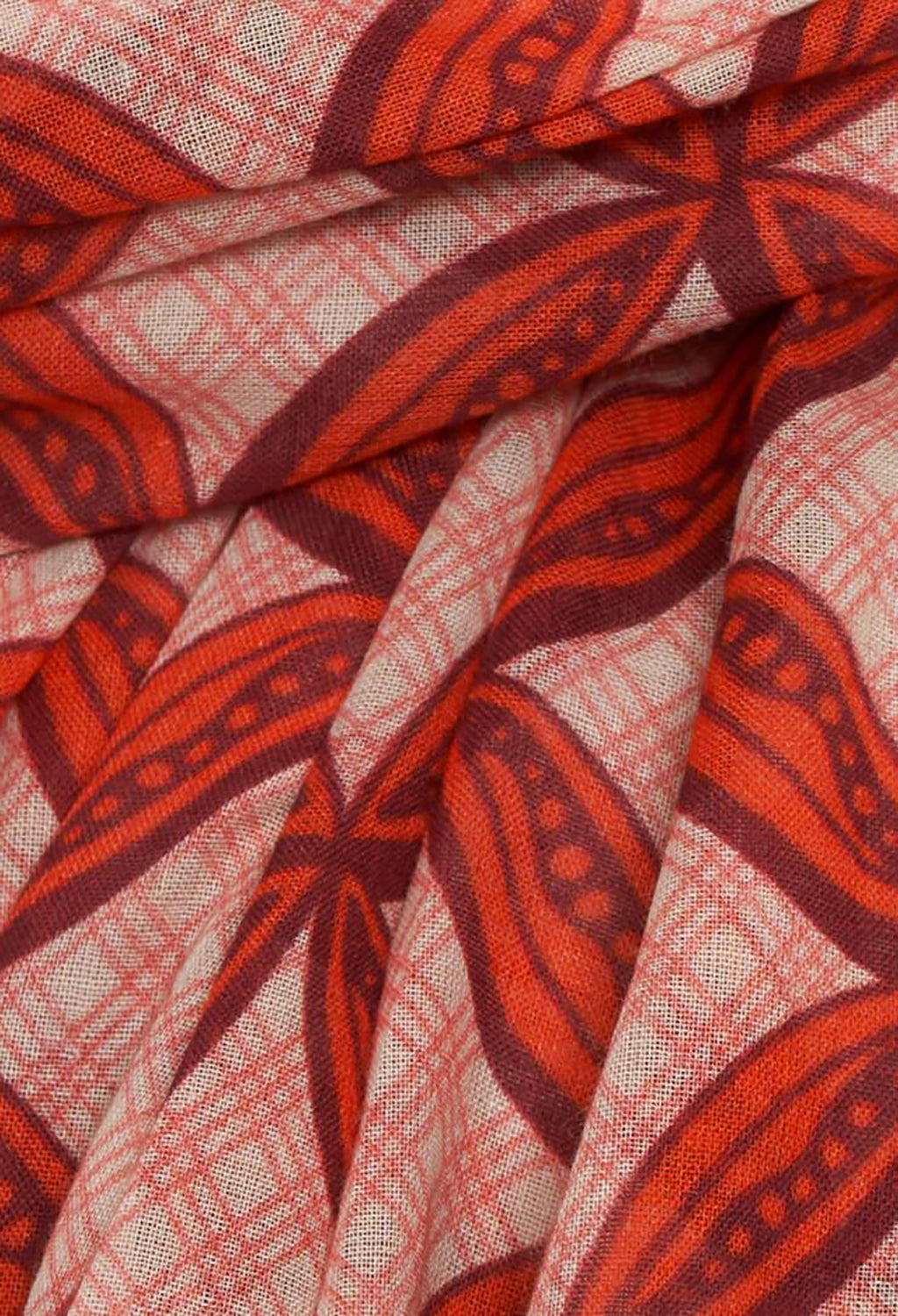 Patterned Scarf with Contrast Edge in Peony