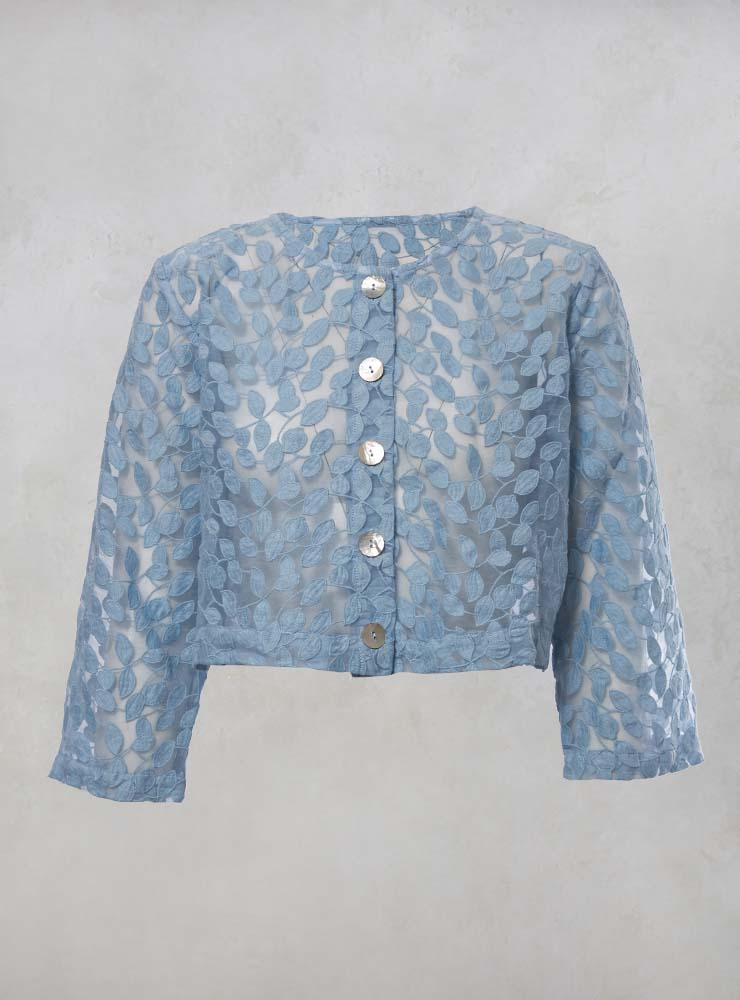 Sheer Printed Cropped Jacket with Button Front in Pastel