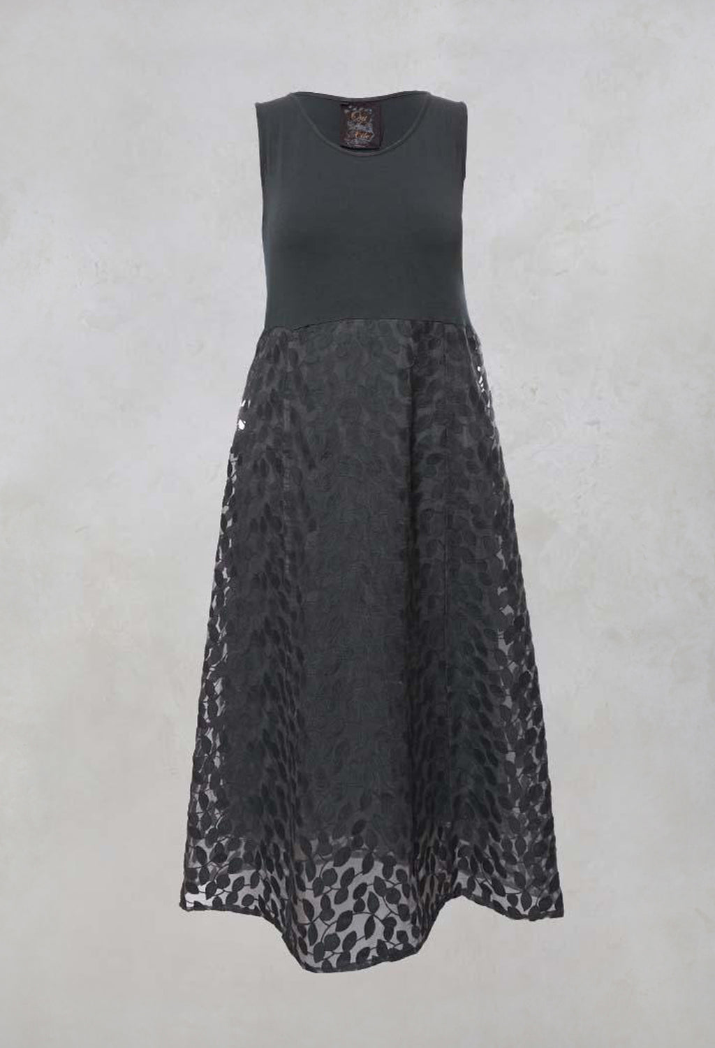 Sleeveless Dress with Contrast Printed Skirt in Charcoal