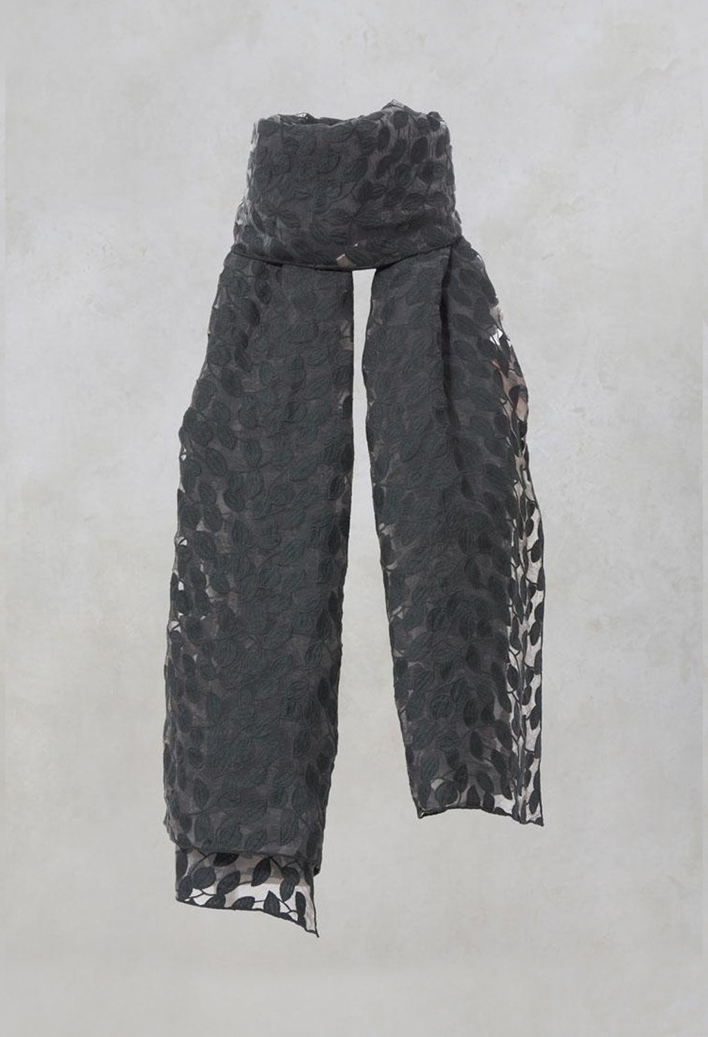 Sheer Printed Scarf in Charcoal