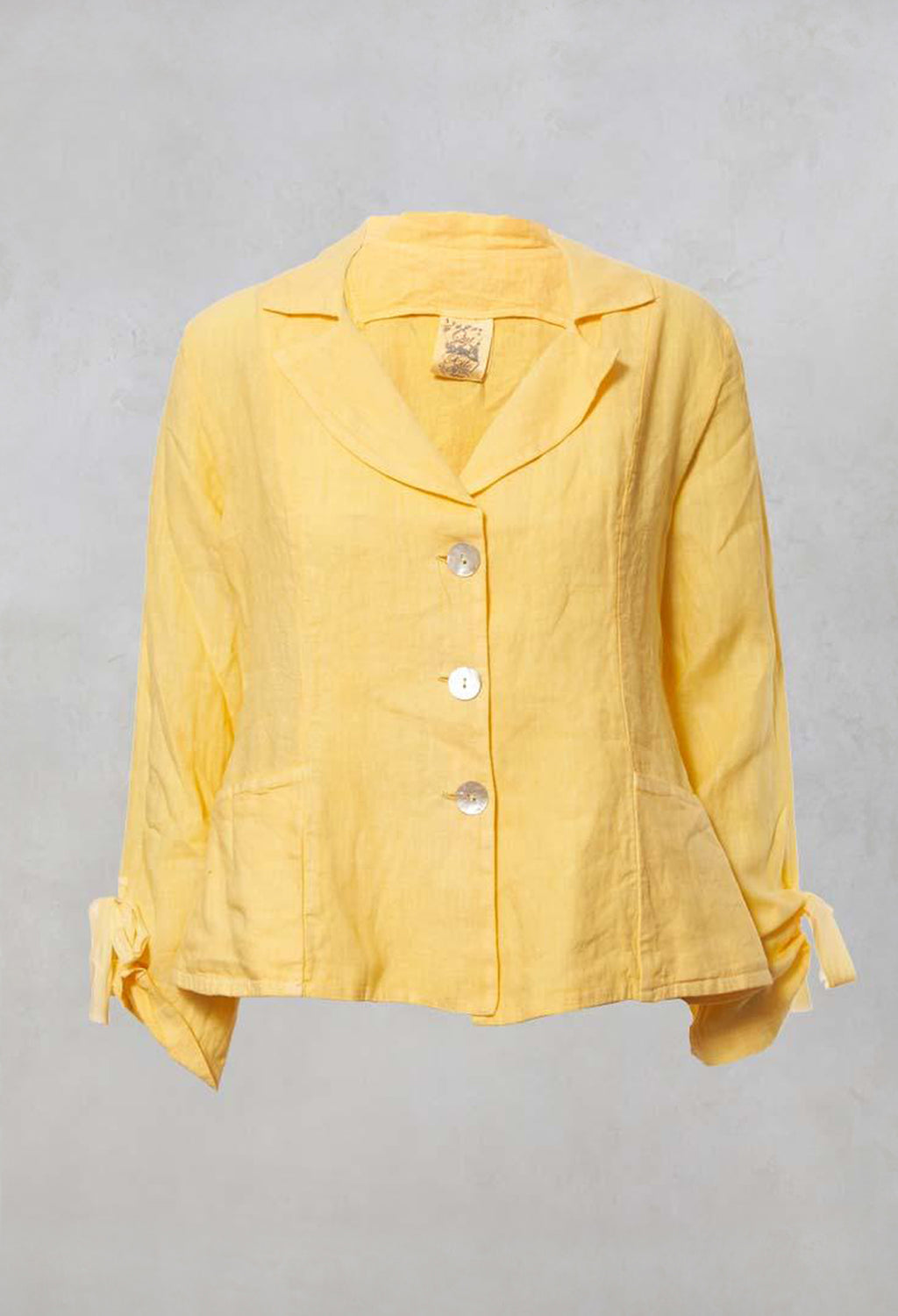 Linen V Neck Jacket with Pockets and Bow Cuff Detail in Sorbet