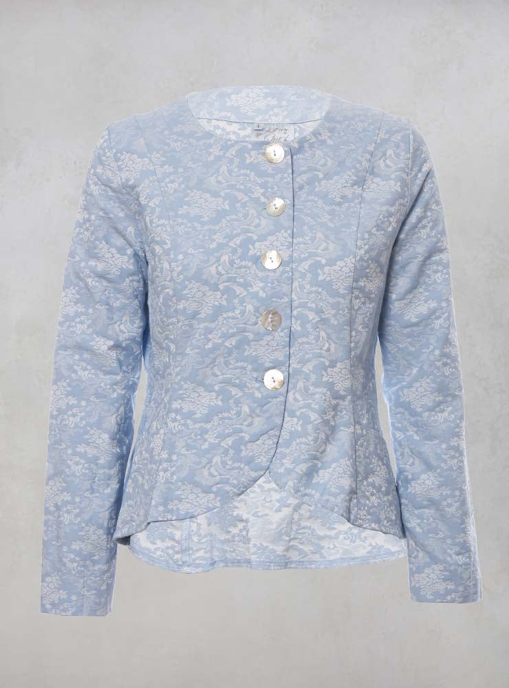 Printed Collarless Cropped Jacket in Pastel