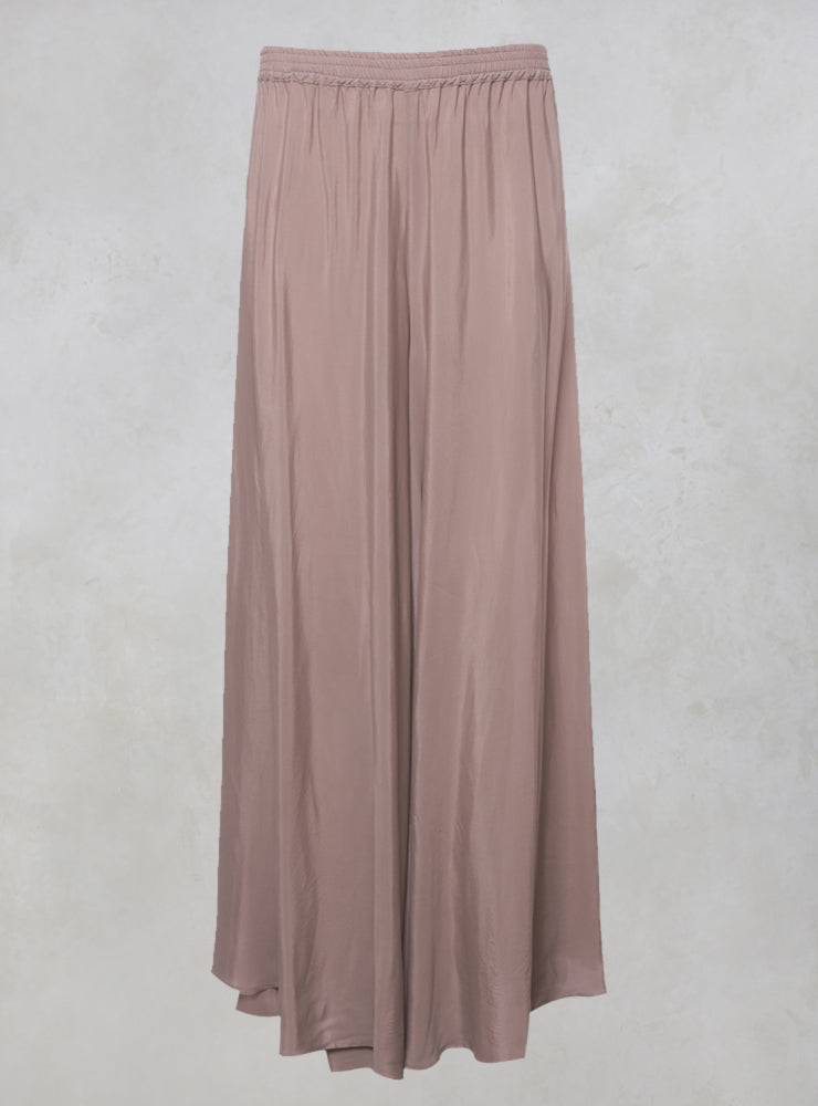 Wide Leg Silk Trousers with Elasticated Hem in Hochzeit