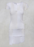 Sheer Longline Top with Patchwork Panels in White