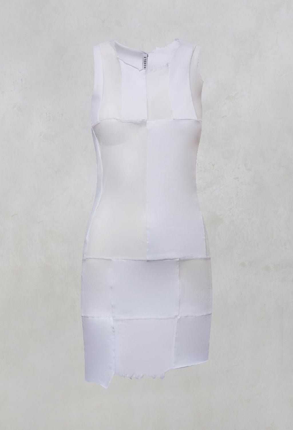 Sheer Sleeveless Tunic Vest with Patchwork Panels in White