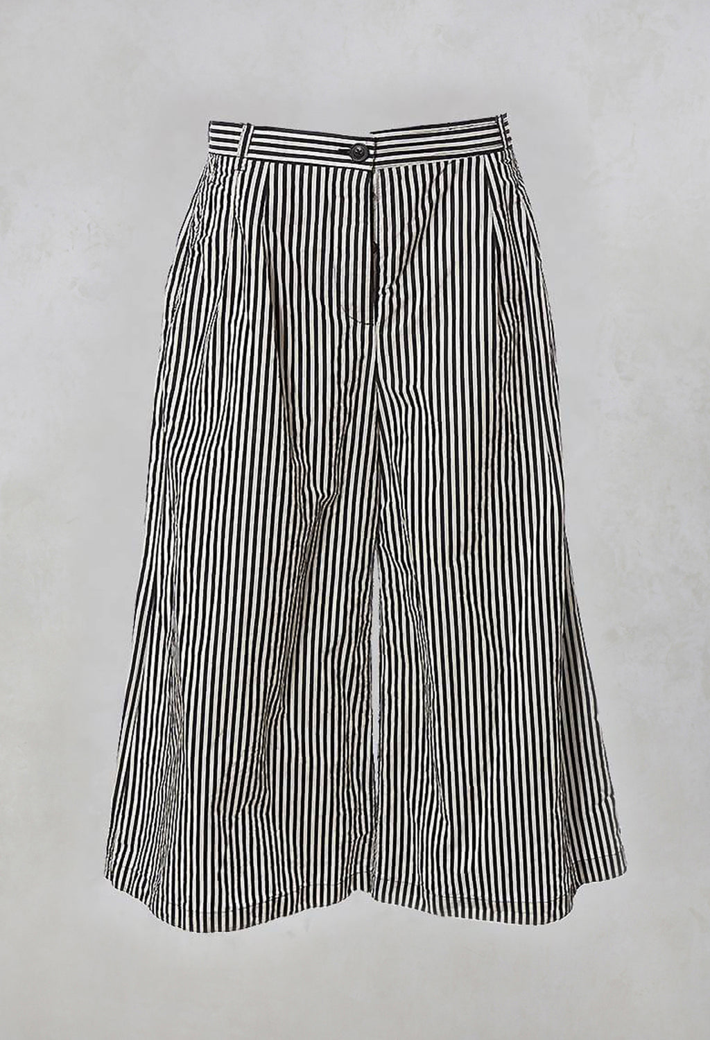 Wide Leg Trousers in Black Stripe