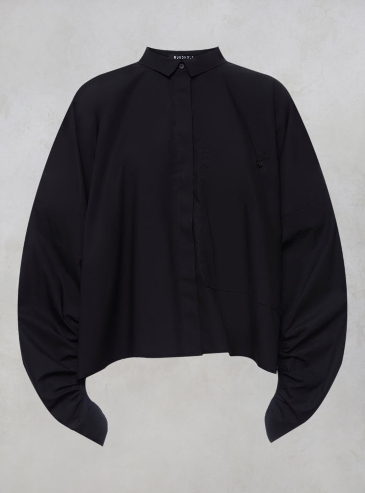 Wide Fit Cropped Shirt with Collar & Large Pocket in Black