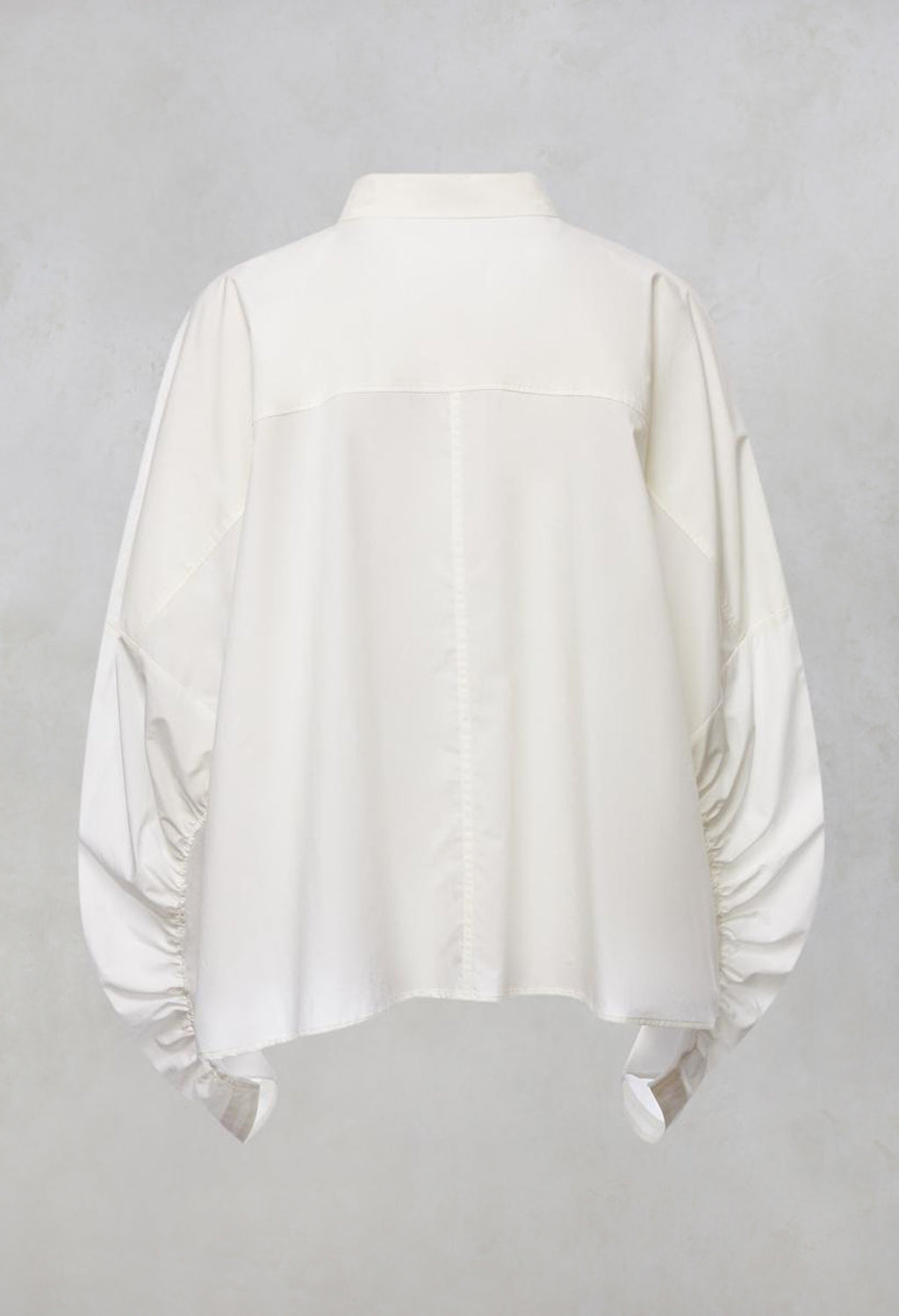 Wide Fit Cropped Shirt with Collar & Large Pocket in Off White