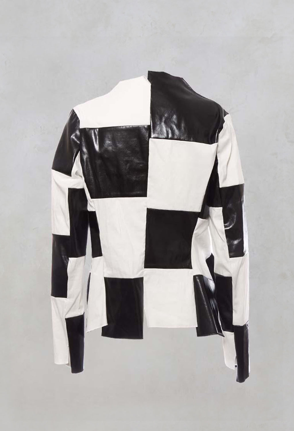 Collarless Patchwork Jacket with Contrast Fabric in Original