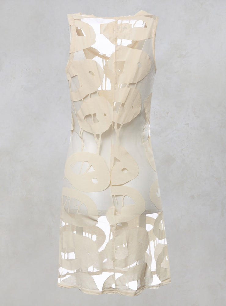 Sleeveless Printed Sheer Longline Vest Top in White