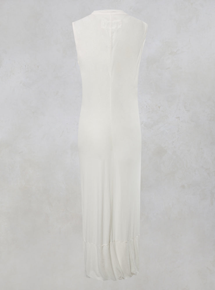 Sleeveless Cotton Maxi Dress in White