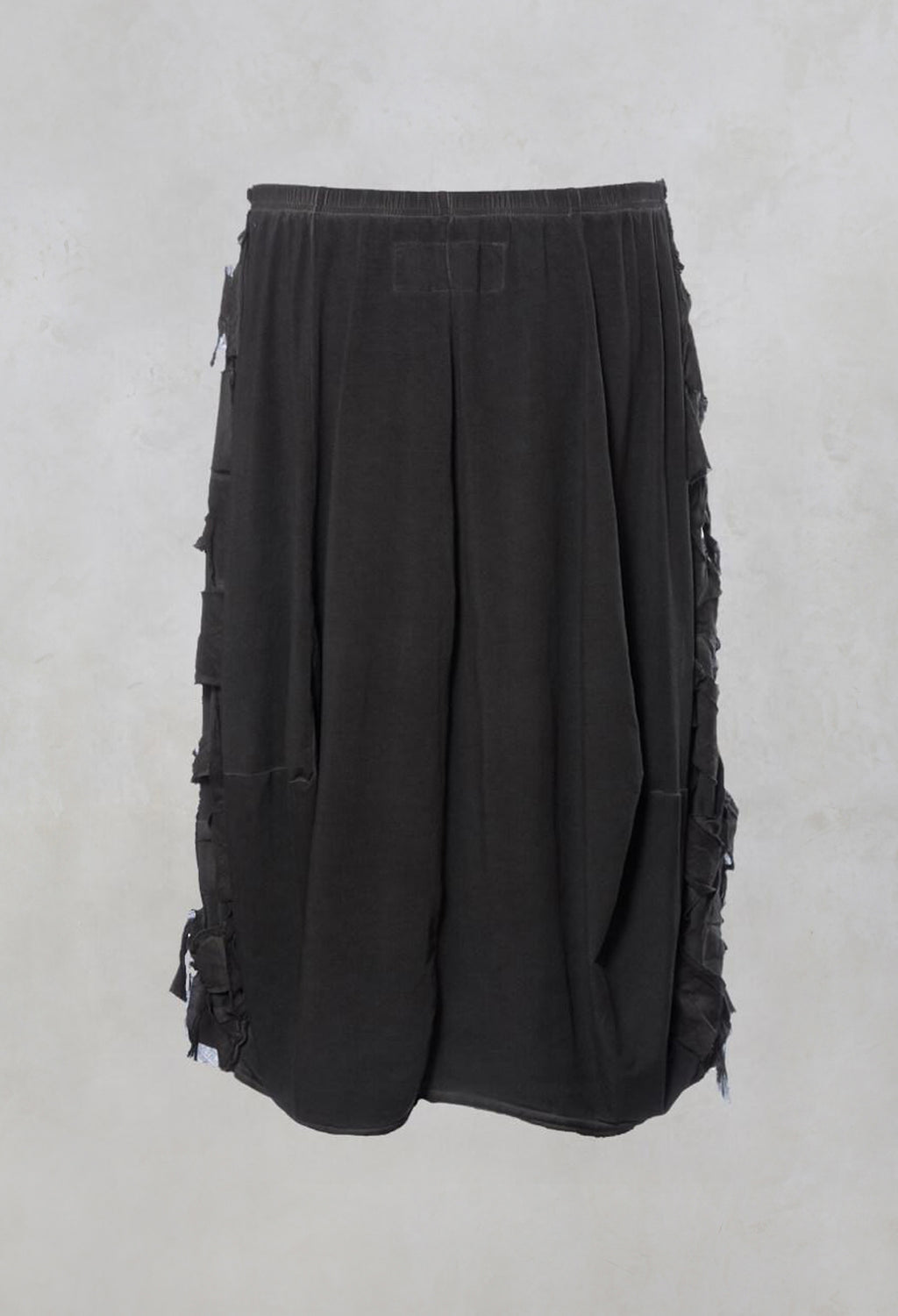 Lattice Fronted Midi Skirt in Carbon