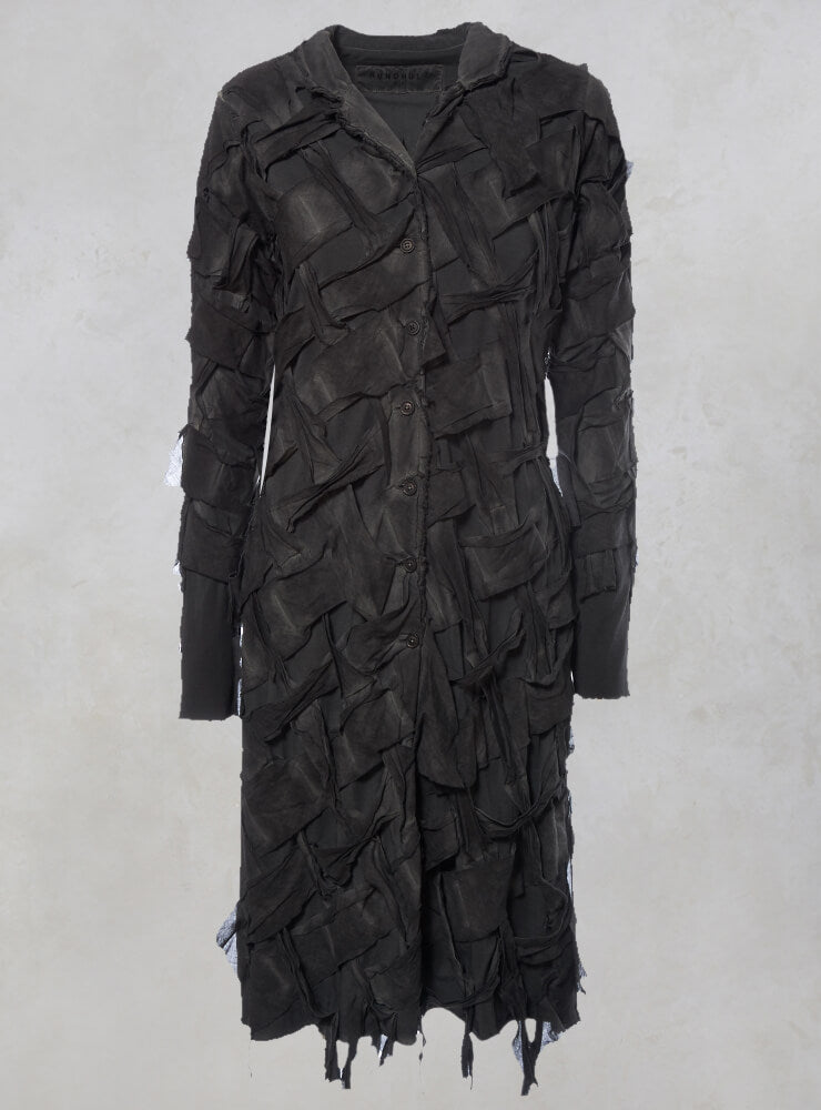 Long Sleeved Lattice Fronted Coat in Carbon
