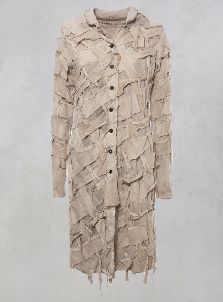 Long Sleeved Lattice Fronted Coat in Umbra