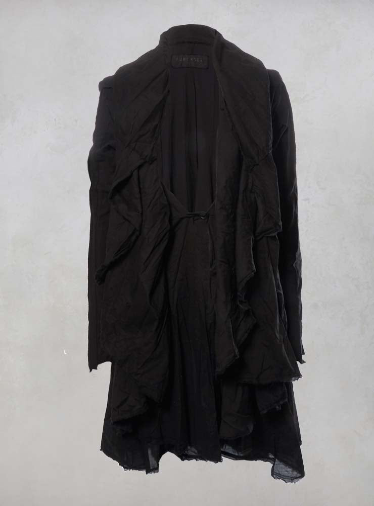 Layered Cape with Raw Edges and Cotton Stretch Sleeves in Black