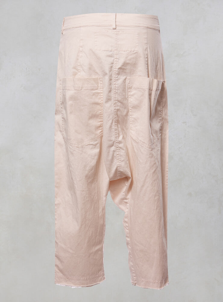 Oversized Drop Crotch Jeans with Raw Hem in Rose