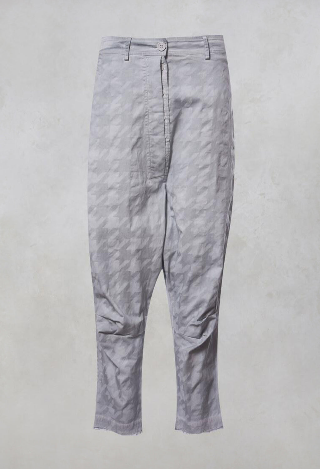 Oversized High Waisted Drop Crotch Jeans in Grey Check