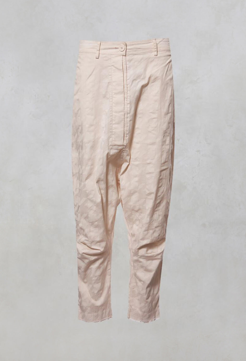 Oversized High Waisted Drop Crotch Jeans in Rose Check
