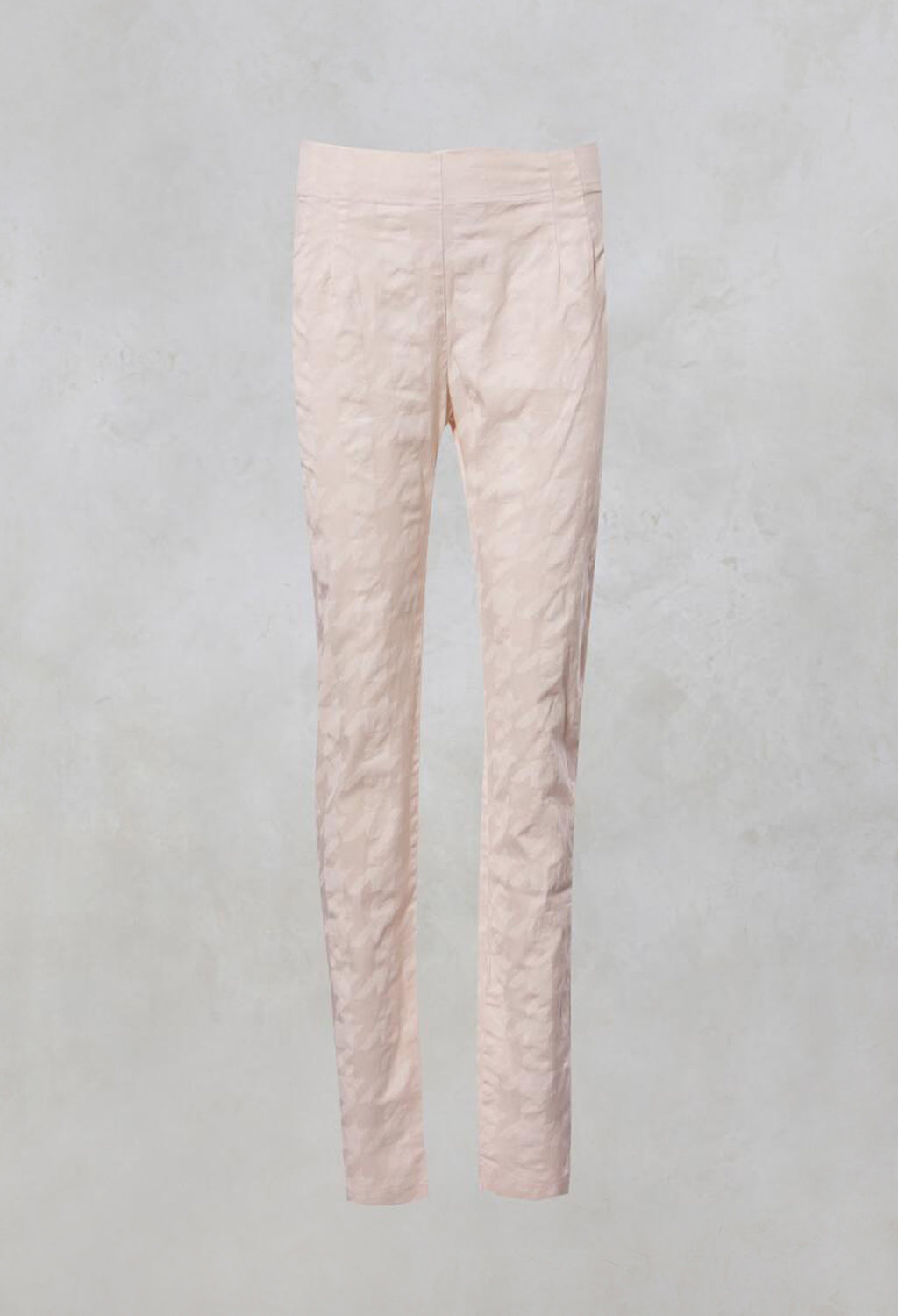 Stretchy High Waisted Trousers with Side Zip in Rose Check