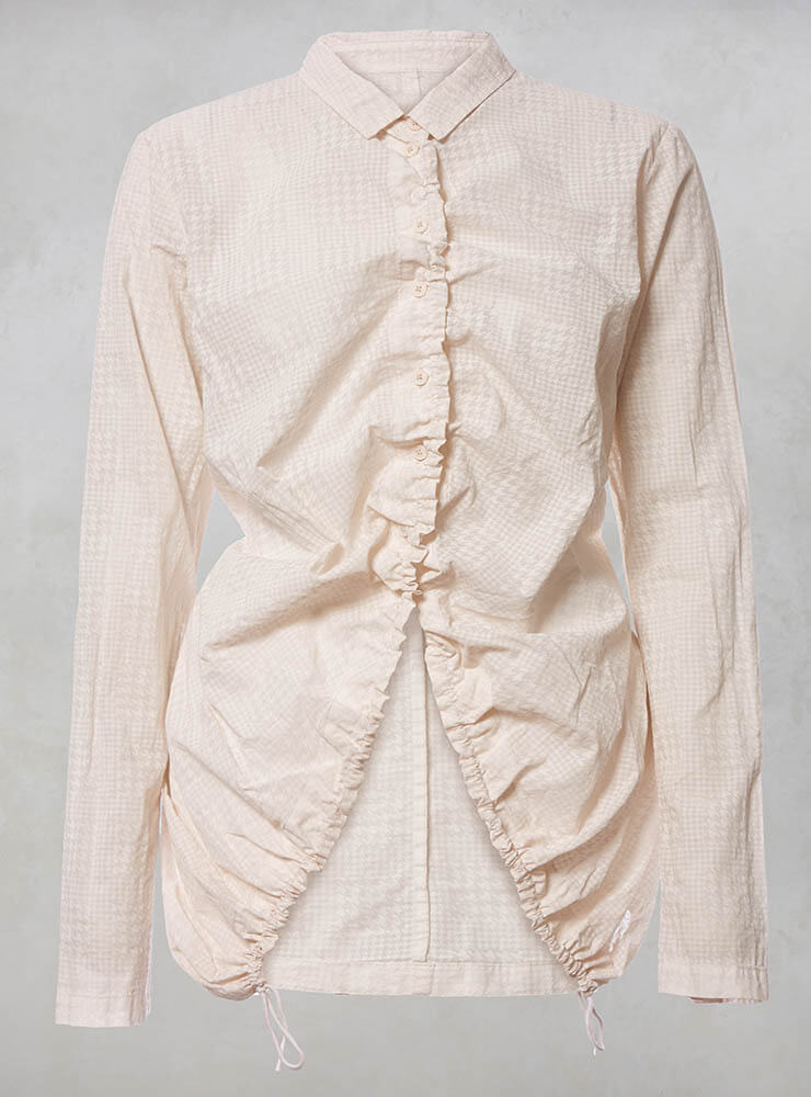 Shirt with Drawstring Front in Rose Print