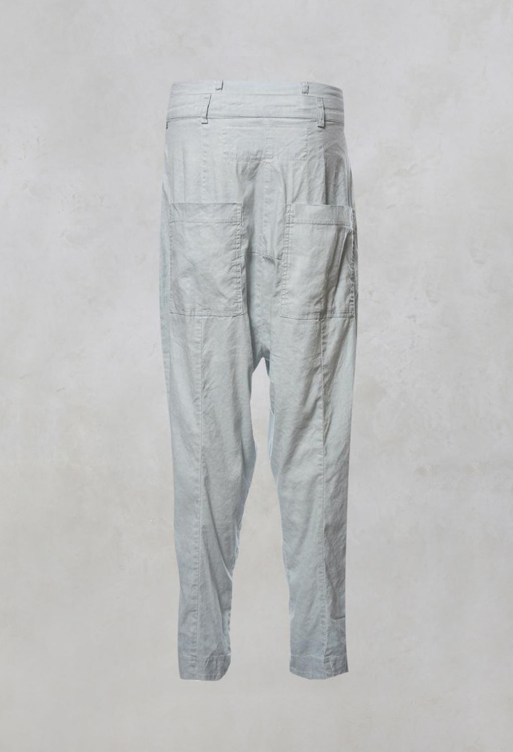 High Waisted Drop Crotch Trousers in Grey