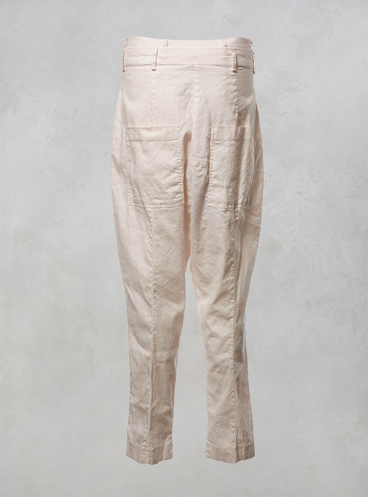 High Waisted Drop Crotch Trousers in Rose