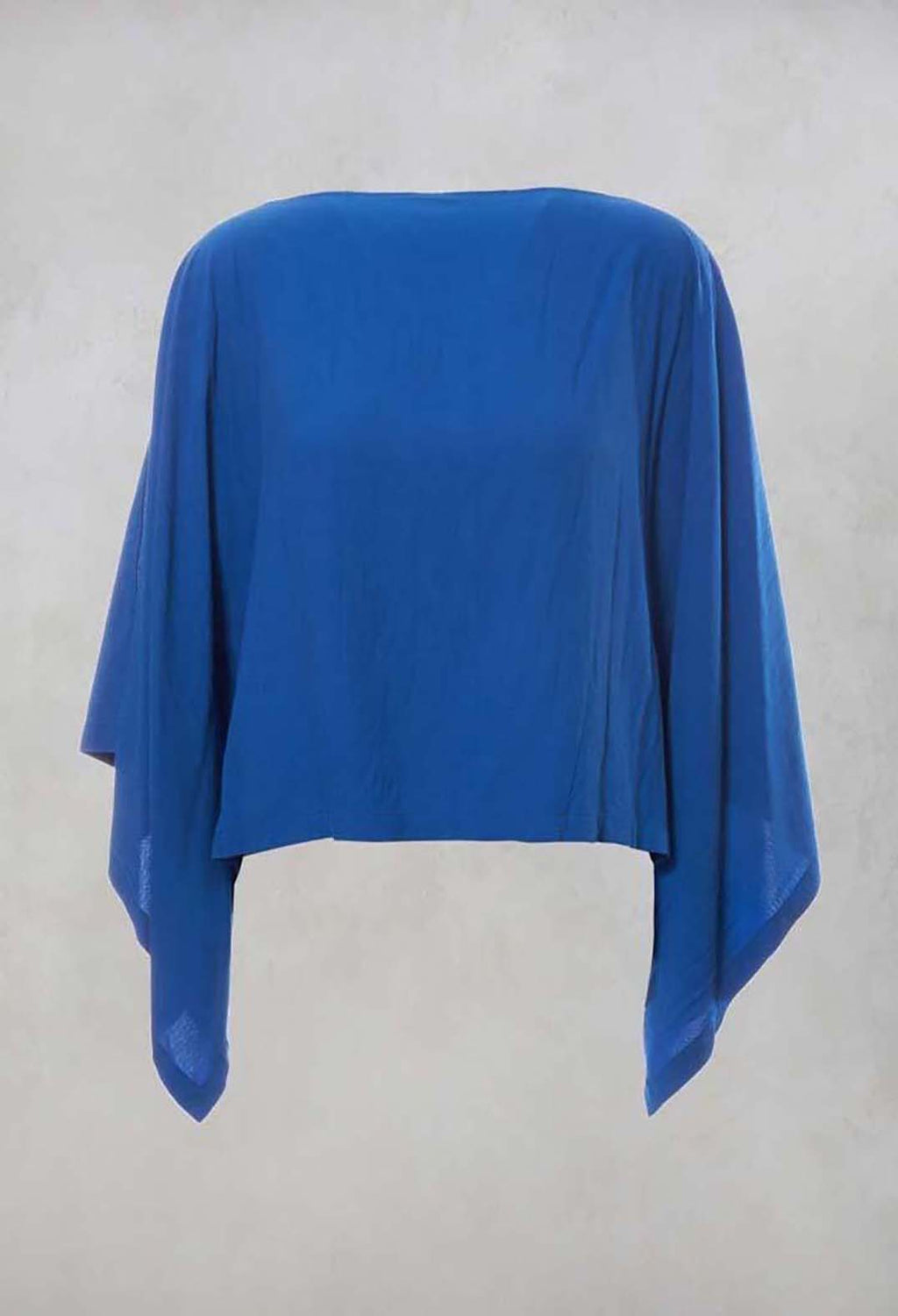 Cropped Cape Style Top with Cut Out Shoulder in Blue