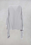 Cape Style Top with Cut Out Shoulder in Light Grey