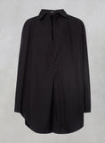 Oversized Shirt with Button in Black