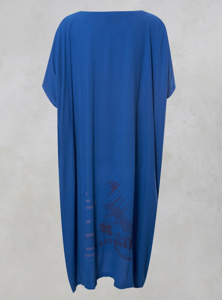 Oversized Midi Dress with Back Print in Blue