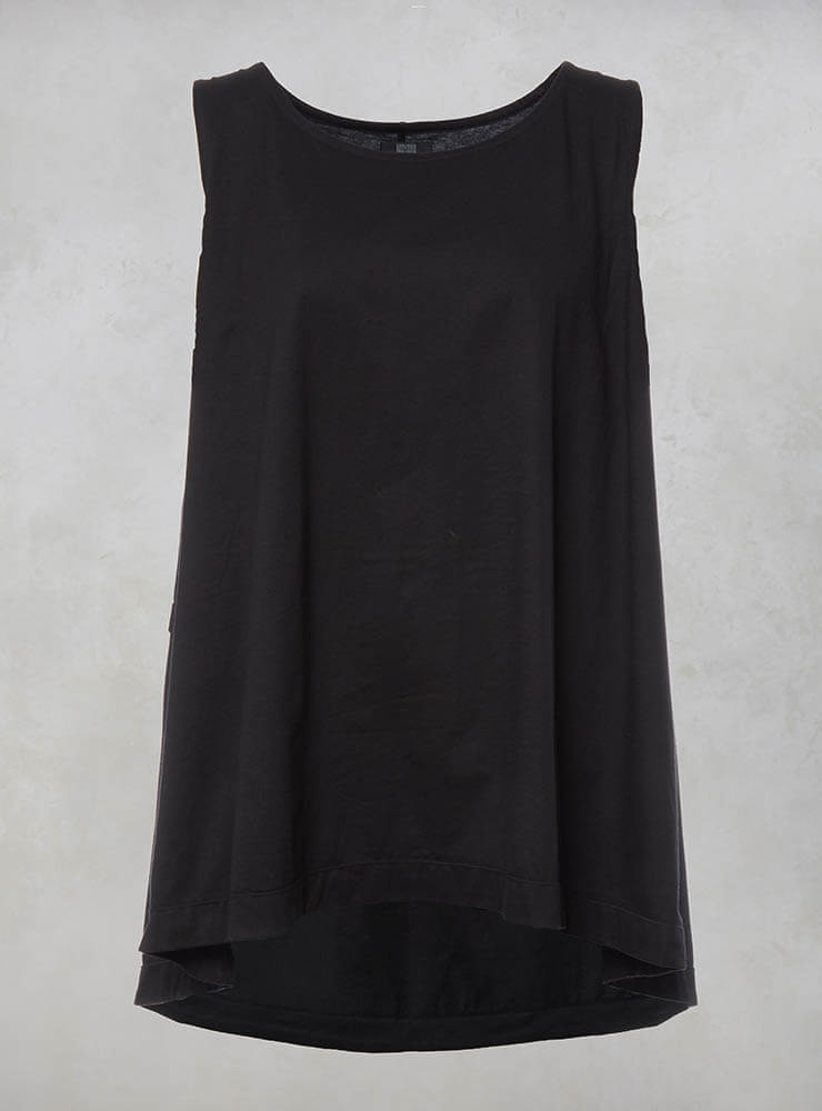 Sleeveless Flared Top with Printed Panel Back in Black