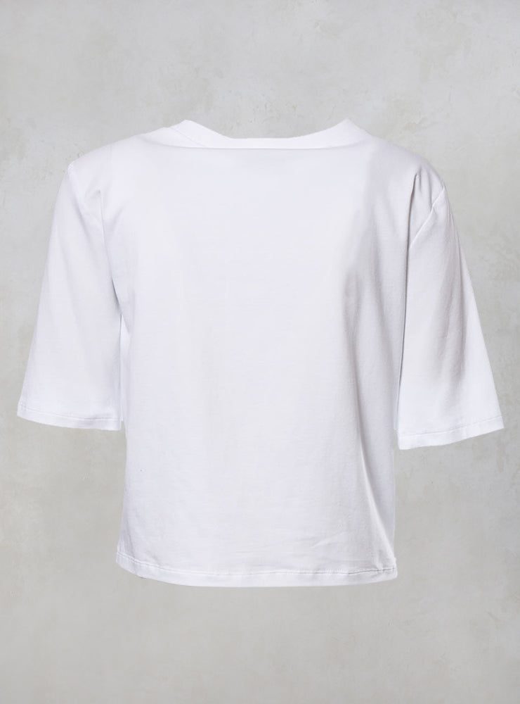 Jersey Mico Cropped Tshirt with Textured Front in Bianco