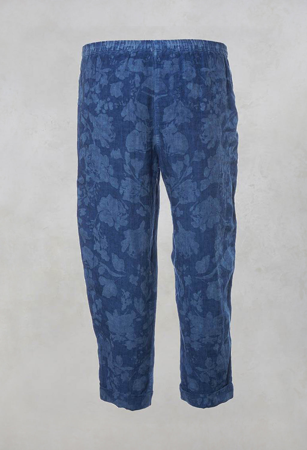Printed Cropped Trousers with Pockets in indigo