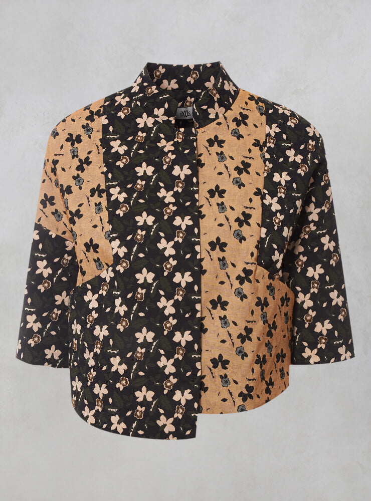 Cropped Structured Jacket with Print in Nero / Biscotto
