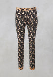 Structured Straight Leg Trousers with Print in Nero / Biscotto