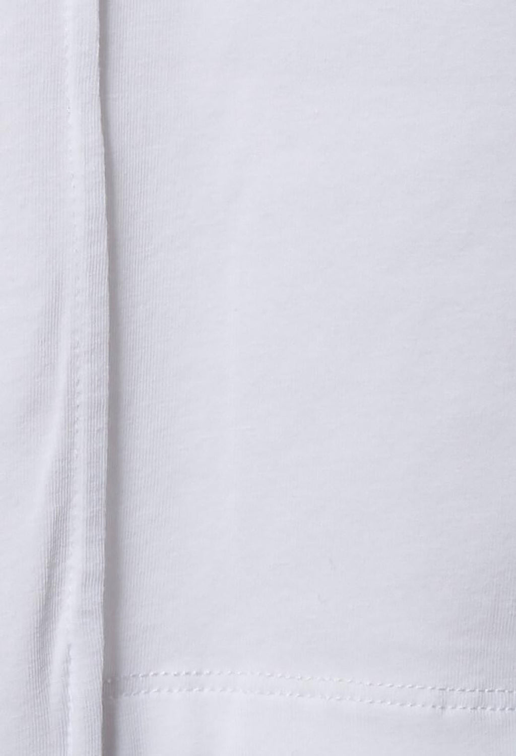 Cropped T Shirt with Asymmetric Hem in Bianco
